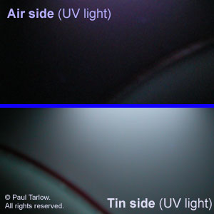 Tin side under UV light